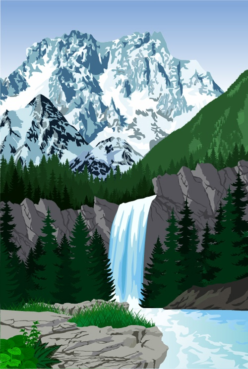Mysterious snow mountain landscape vector graphics 08