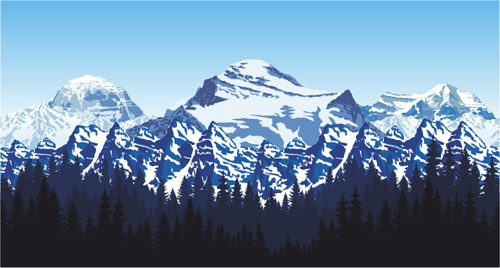 Mysterious snow mountain landscape vector graphics 06