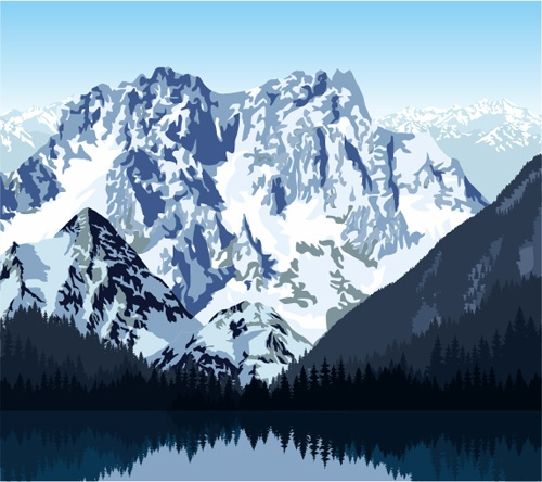 Mysterious snow mountain landscape vector graphics 05
