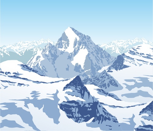 Mysterious snow mountain landscape vector graphics 01
