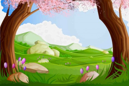 Natural cartoon landscapes background vector 02