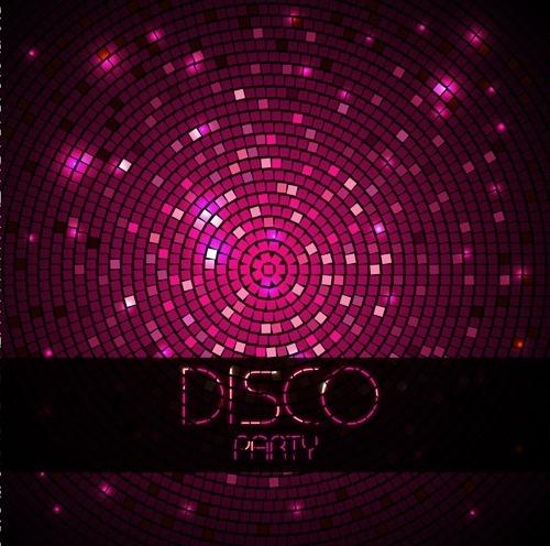 Neon disco music party flyers design vector 04