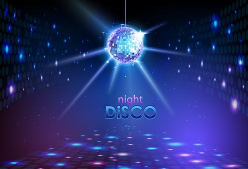 Neon disco music party flyers design vector 03