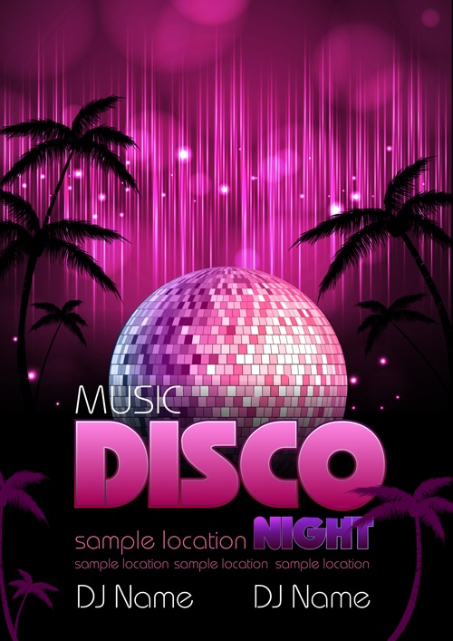 Neon disco music party flyers design vector 05