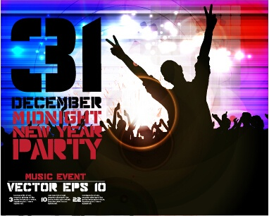 2015 new year midnight music party poster vector 04
