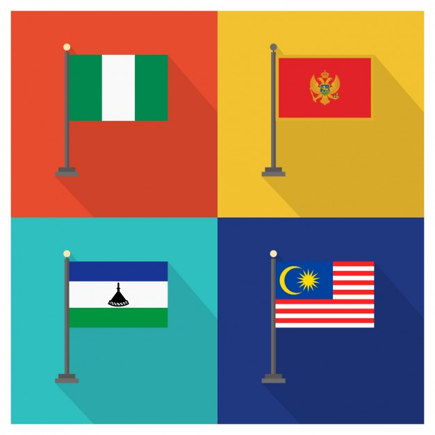 Nigeria Montenegro Lesotho and Malaysia Flags