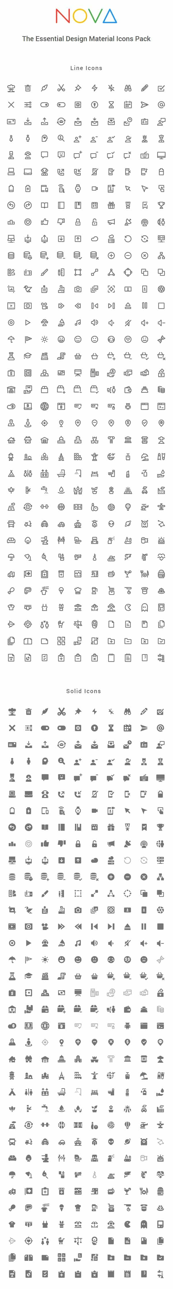 Nova: 350 Material Style Icons | GraphicBurger
