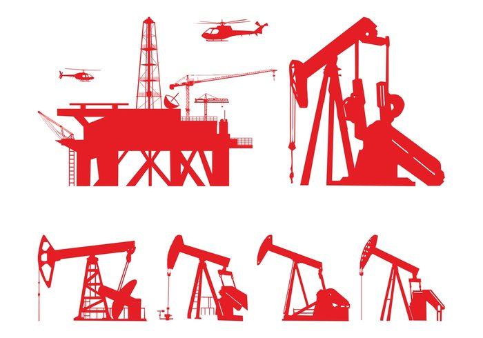 Oil Pumps Silhouettes