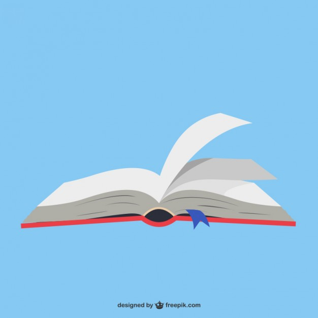 Open book in blue background