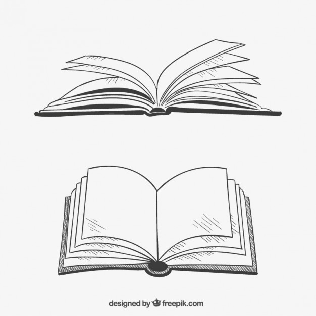 Opened books in hand drawn style