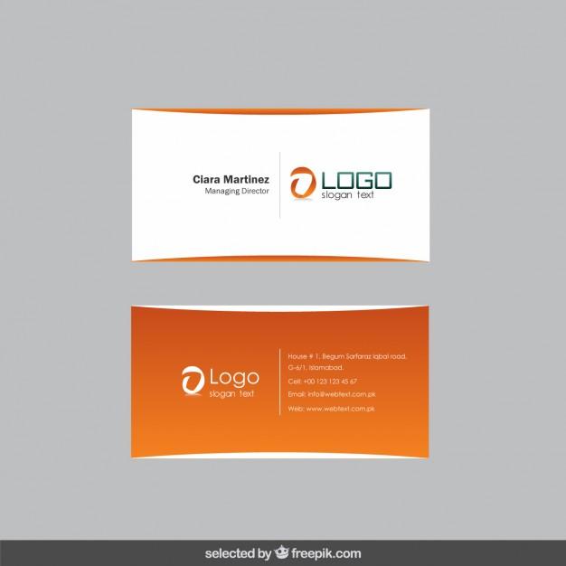 Orange modern business card  Vector | Free Download