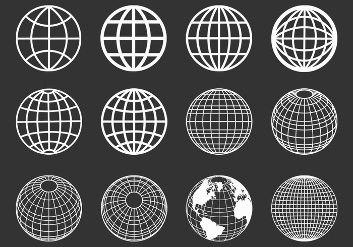 Outlined Globes Spheres Vector Set