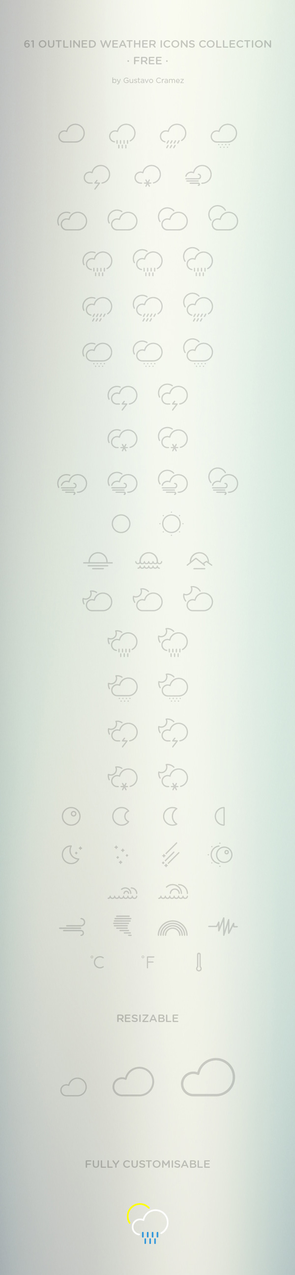 61 Outlined Weather Icons | GraphicBurger