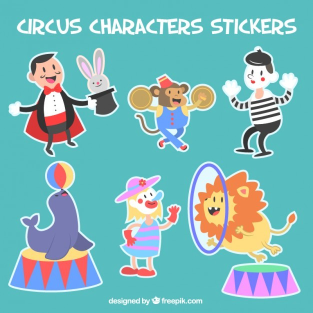 Pack of circus character stickers