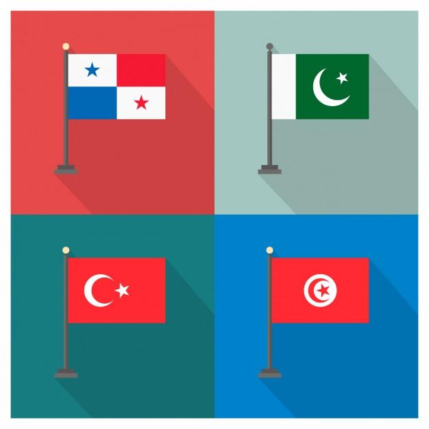 Panama Pakistan Turkey and Tunisia Flags
