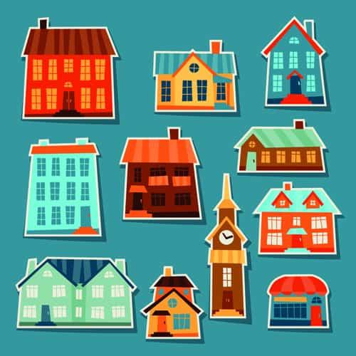 Paper house vector design set 05