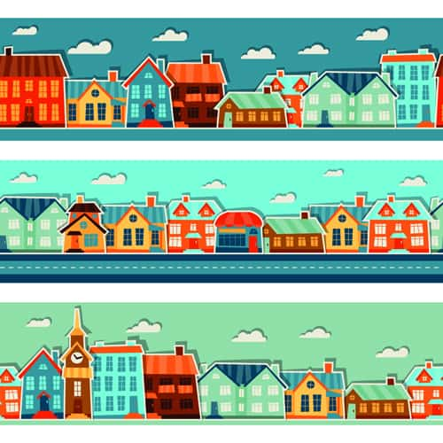 Paper house vector design set 01