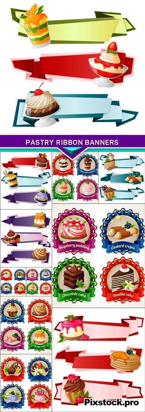 Pastry ribbon banners 11x EPS