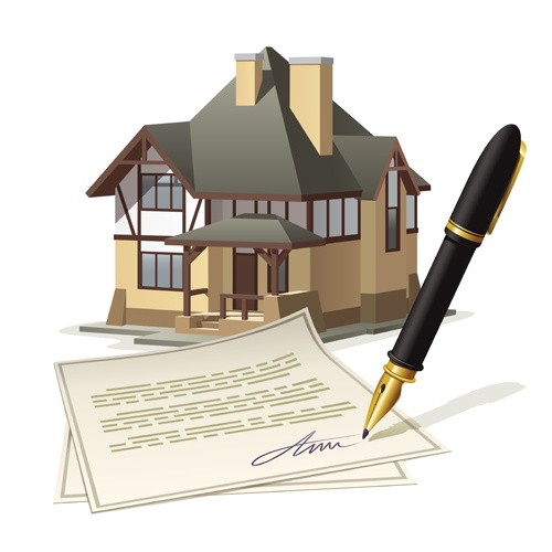 Pen with house design vector