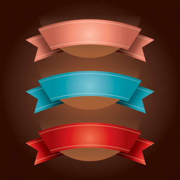 Pink, blue and red ribbons pack