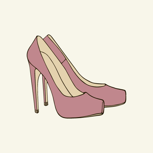 Pink high-heeled shoes vector