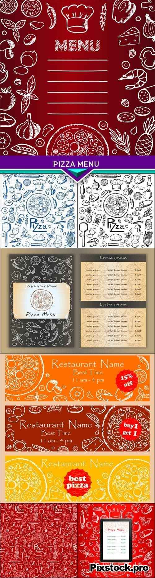 Pizza menu Set hand drawn elements 7x EPS