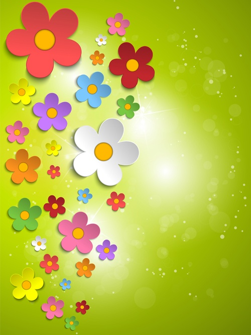 Plant and spring design vector 05