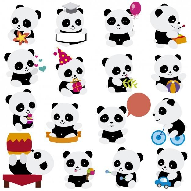 Playing pandas cartoons