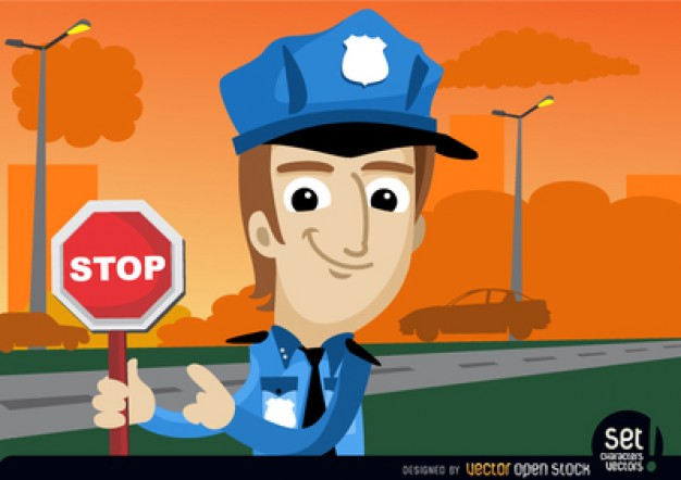 Policeman with warning signal  Vector | Free Download
