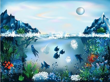 Pretty Underwater World element vector 03