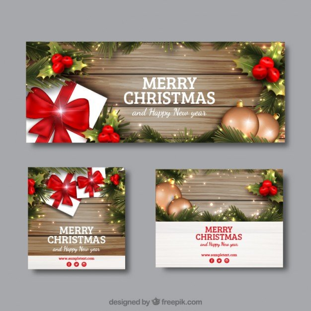 Realistic christmas banners in different sizes Vector | Free Download