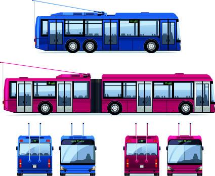 Realistic trolleybus design vector