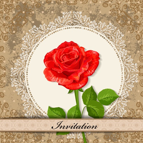 Red Flower invitations cards 02