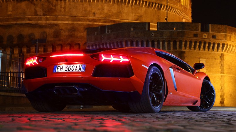 Red Lamborghini Aventador HD Wallpaper