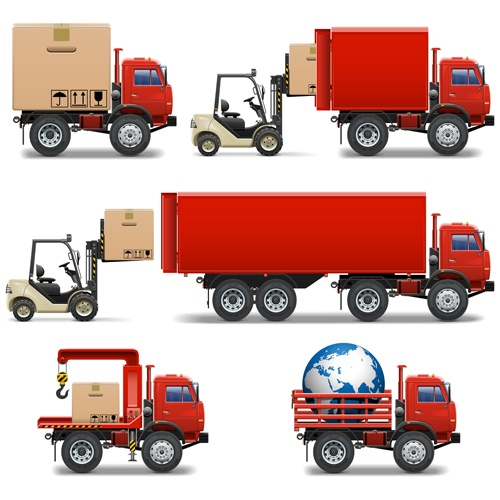 Red truck with forklift vector set