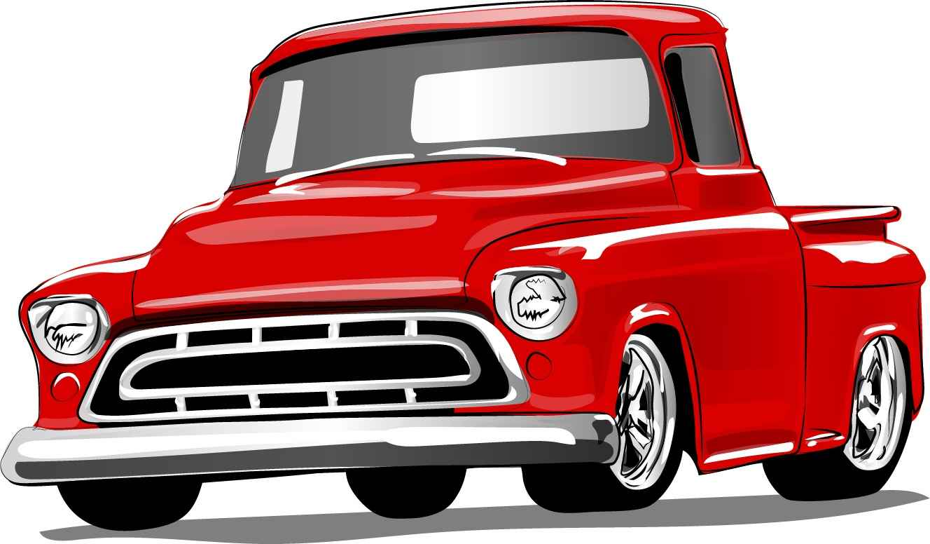 Red vintage car vector material 01
