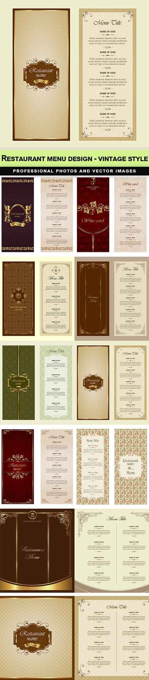 Restaurant menu design – vintage style – 9 EPS