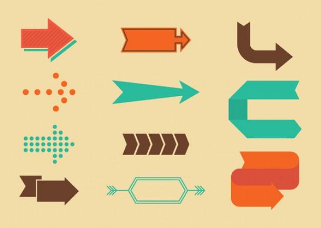 Retro directional arrow signs  Vector | Free Download