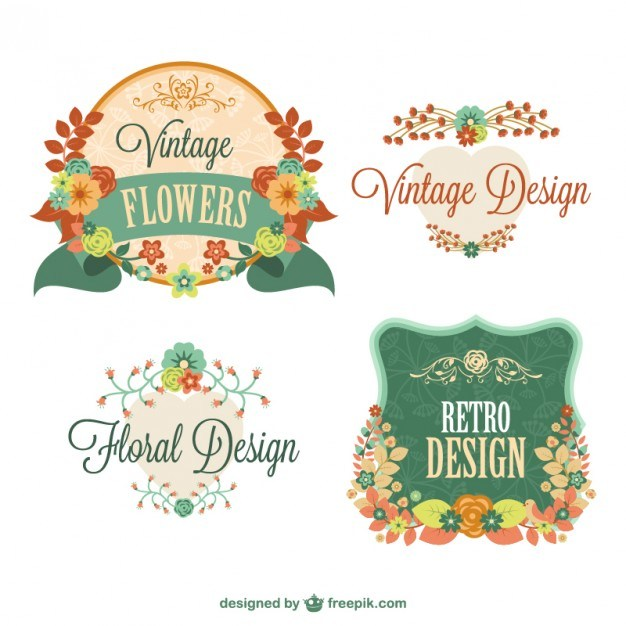 Retro floral graphic elements design  Vector | Free Download