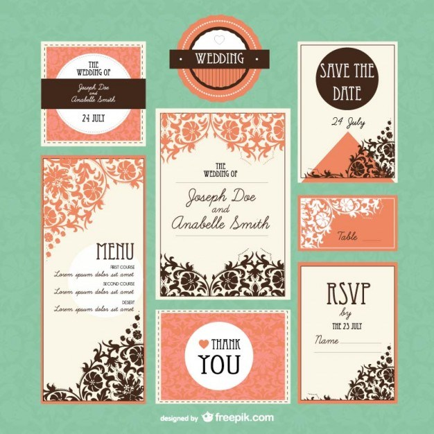 Retro wedding mock-up set  Vector | Free Download