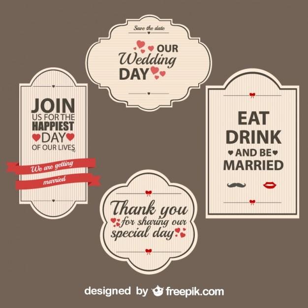 Retro Wedding Stickers Set  Vector | Free Download