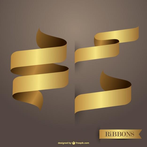 Ribbons golden free vectors