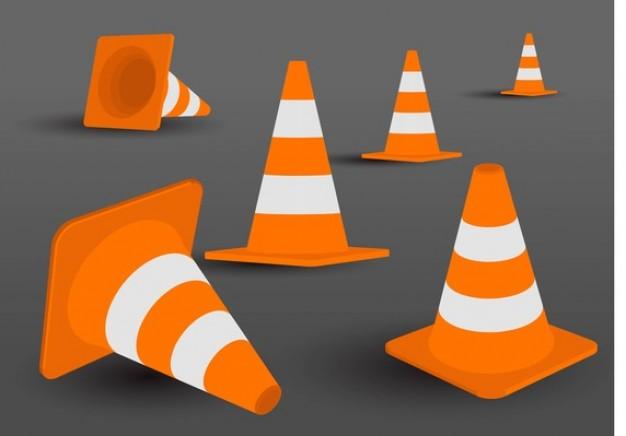 Road orange cone set  Vector | Free Download