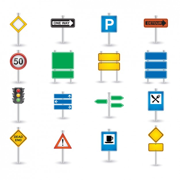 Road Sign Icon Set  Vector | Free Download