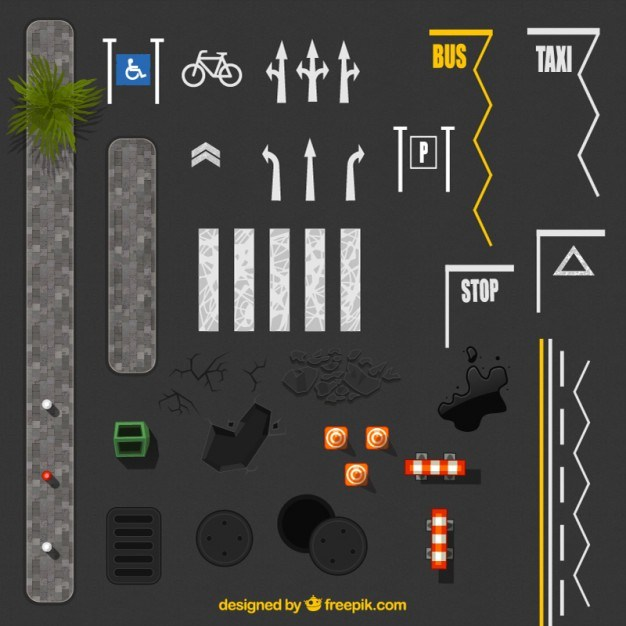 Road sign on asphalt  Vector | Free Download