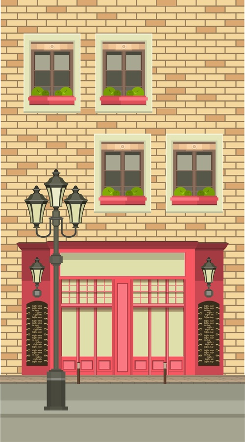 Roadside cafe vector template 04