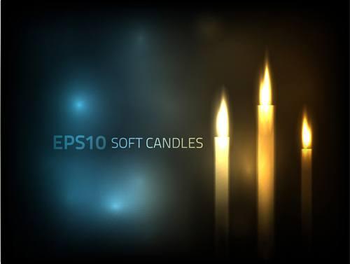Romantic candle elements vector 05