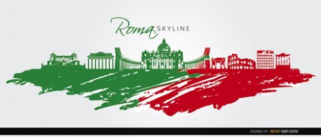 Rome Flag Skyline Silhouette