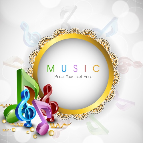Round lace frame music background vector