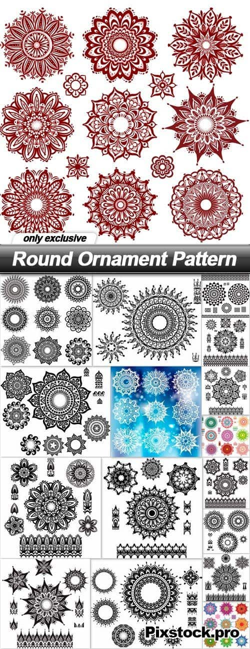 Round Ornament Pattern 2 – 17 EPS